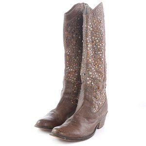 Chocolat Blu Distressed Leather Studded Boots